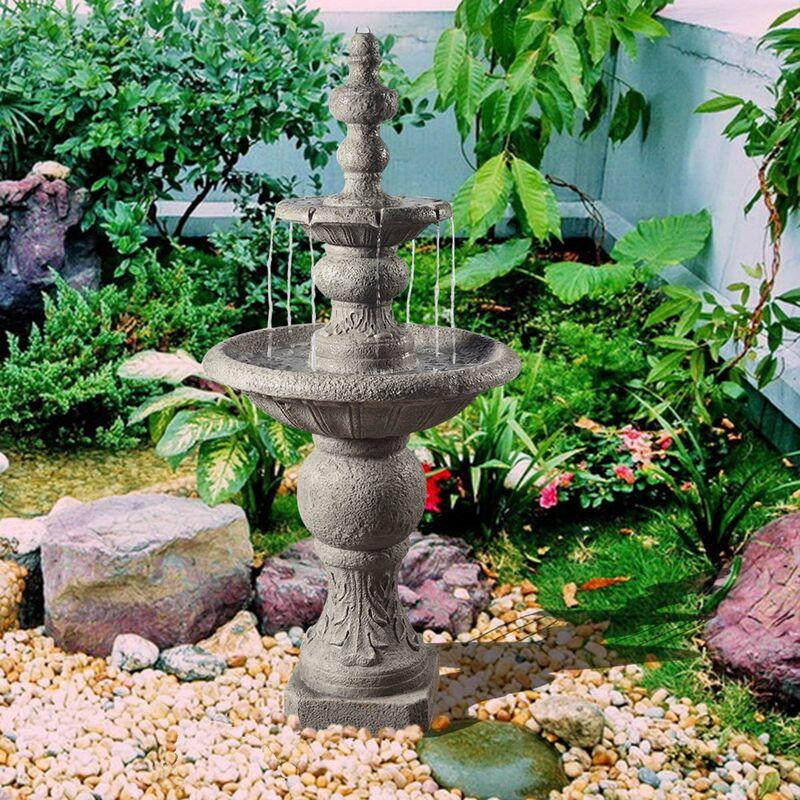 Fuente De Agua Exterior De 2 Niveles Con Bomba Para Jardín VFD8179-EU - Peaktop
