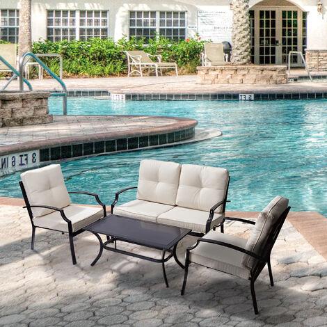 Peaktop Garden Patio Furniture Set 4-Piece Table & 3 Chairs Sofa, Beige PT-OF0004-UK