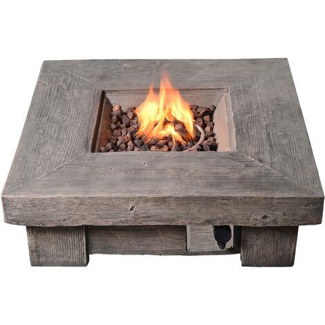 Peaktop Outdoor Garden Concrete Wood Effect Heater Gas Fire Pit HF11501AA-UK