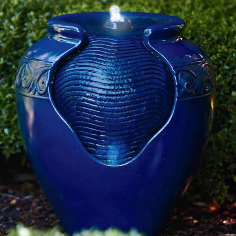 Peaktop Outdoor Garden Patio Blue LED Pot Water Fountain Feature YG0036AZ-UK