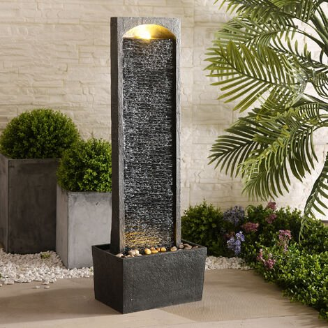 Peaktop Outdoor Garden Patio Decor Tall Water Fountain Feature Grey RJ-19041-UK
