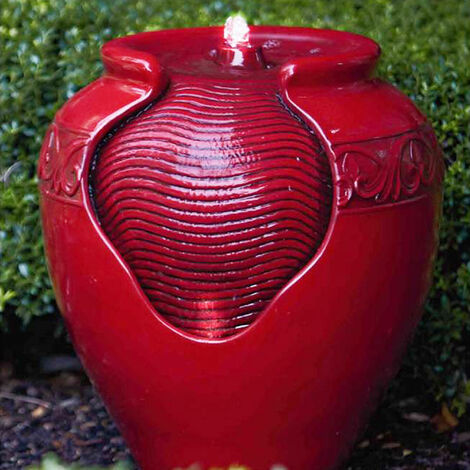 Peaktop Outdoor Garden Patio Red LED Pot Water Fountain Feature YG0034AZ-UK