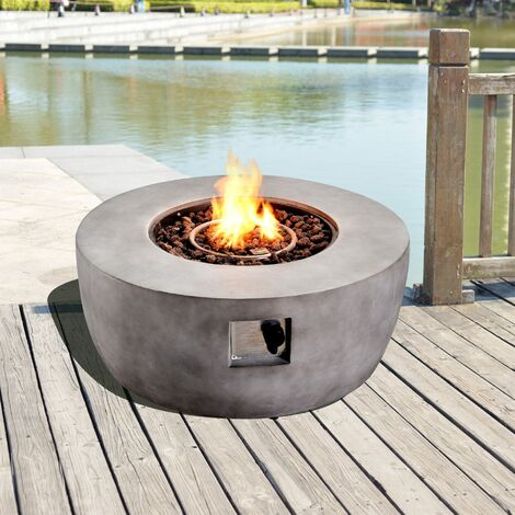 Peaktop Outdoor Garden Patio Round Concrete Propane Gas Fire Pit HF36501AA-UK