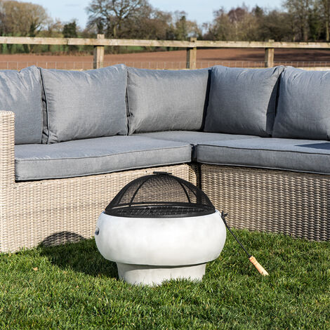 Peaktop Outdoor Garden Patio Round Wood Burning Fire Pit & BBQ Grill HR17501AB