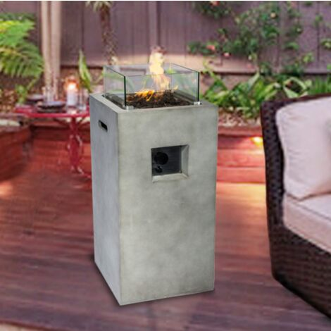 Peaktop Outdoor Garden Patio Tall Square Concrete Gas Fire Pit HF31701AA-UK