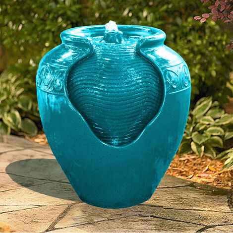 Peaktop Outdoor Garden Patio Teal LED Pot Water Fountain Feature YG0037A-UK