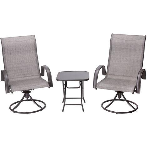 Peaktop Patio Furniture Set Garden Table & 2 Chairs Grey Bistro Set PT-OF0003
