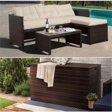 Peaktop Rattan Garden Furniture Set inc Sofa, Table & Extra Large Storage Brown PT-OFBUNDLEBB - UK