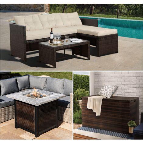 Peaktop Rattan Garden Furniture Set inc Sofa, Table, Extra Large Storage & Gas Fire Pit Brown PT-OFBUNDLEAB - UK