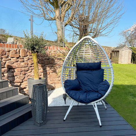 Peaktop Rattan Outdoor Furniture Egg Chair Patio with Cushion Blue & White PT-OF0005-UK