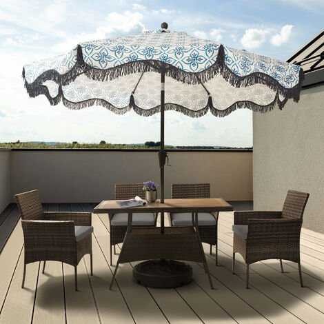 Peaktop Rattan Outdoor Garden Patio Furniture 5-Piece Table & 4 Chair Brown Dining Set with Cushions PT-OF0021-UK