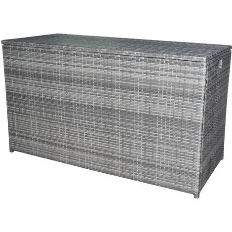 Peaktop Rattan Outdoor Garden Patio Furniture 672 Litre XL Storage Box Grey Conservatory Chest PT-OF0010G