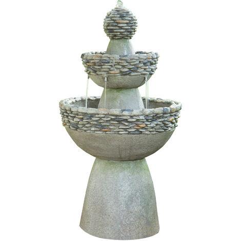Peaktop Water Fountain Indoor Conservatory Garden Grey Tier Ornament FI0030AA-UK