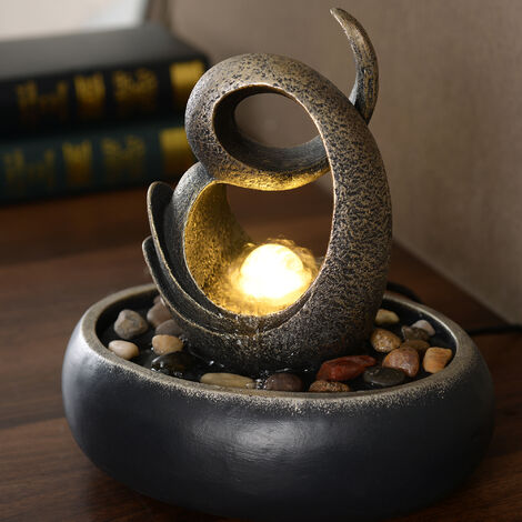 Peaktop Water Table Top Fountain Indoor Grey Ornament With Lights PT-TF0004-UK