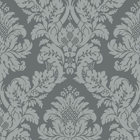 Pear Tree Damask Wallpaper Metallic Glitter Textured Charcoal Grey Vinyl