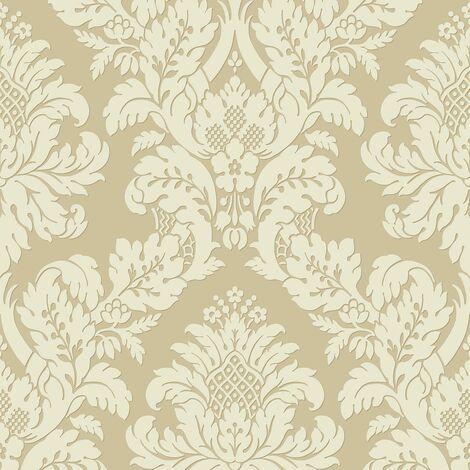 Pear Tree Damask Wallpaper Metallic Glitter Textured Gold Silver Cream Vinyl
