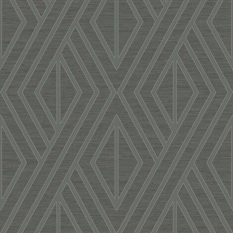 Pear Tree Geometric Wallpaper Metallic Glitter Textured Grey Black Silver Vinyl