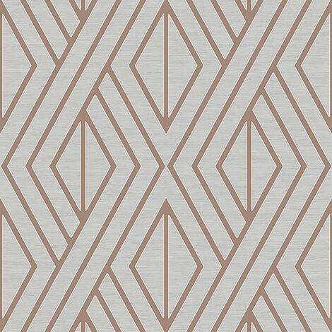 Pear Tree Geometric Wallpaper Metallic Glitter Textured Grey Rose Gold Vinyl