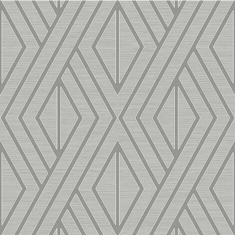 Pear Tree Geometric Wallpaper Metallic Glitter Textured Grey Silver Vinyl