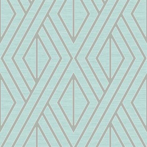 Pear Tree Geometric Wallpaper Metallic Glitter Textured Teal Silver Vinyl