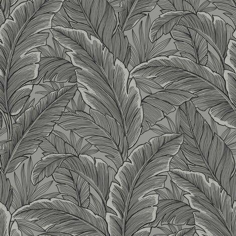 Pear Tree Tropical Palm Leaf Wallpaper Glitter Textured Vinyl Grey Black