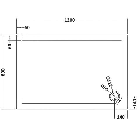 Pearlstone Slate Grey Rectangular Shower Tray 1200mm x 800mm x 40mm