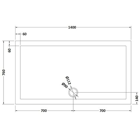 Pearlstone Slate Grey Rectangular Shower Tray 1400mm x 760mm x 40mm