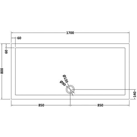 Pearlstone Slate Grey Rectangular Shower Tray 1700mm x 800mm x 40mm