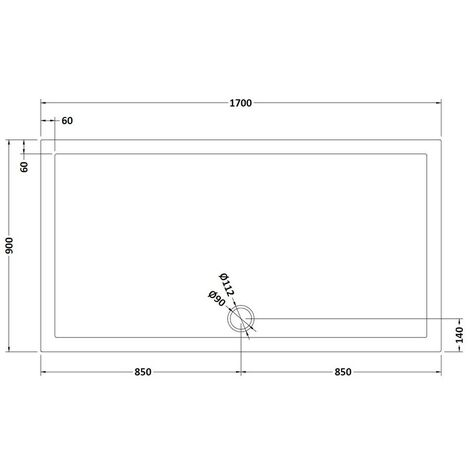 Pearlstone Slate Grey Rectangular Shower Tray 1700mm x 900mm x 40mm