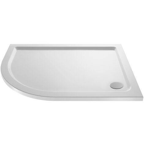 Pearlstone White Offset Quadrant Shower Tray 900mm x 760mm x 40mm - Left Hand