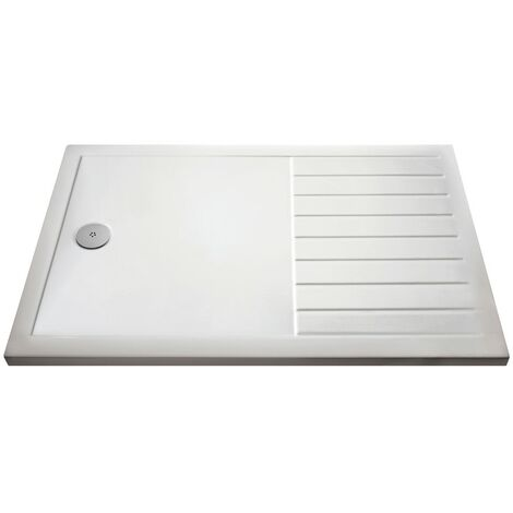 Pearlstone White Rectangular Walk-In Shower Tray 1400mm x 800mm
