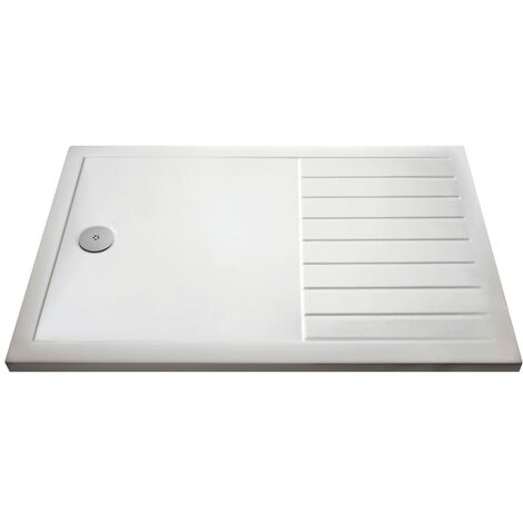 Pearlstone White Rectangular Walk-In Shower Tray & Waste 1600mm x 800mm