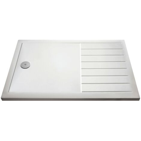 Pearlstone White Rectangular Walk-In Shower Tray & Waste 1700mm x 700mm