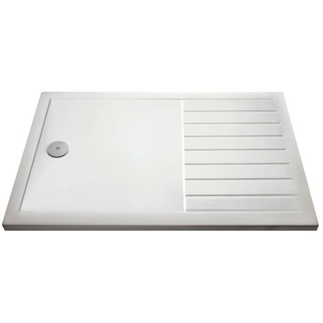 Pearlstone White Rectangular Walk-In Shower Tray & Waste 1700mm x 800mm