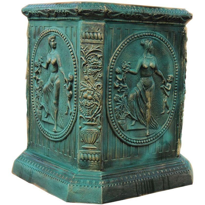 Biscottini - Pedestal en fundición de hierro L82xPR82XH102 cm acabado con efecto verde envejecido