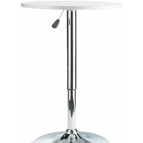 Pedestal Table Height Adjustable White Wood Top Kitchen Poseur Bar Table