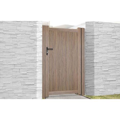 Pedestrian Gate 1000x1800mm Wood - Vertical Solid Infill and Flat Top