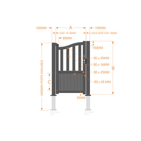 Pedestrian Gate 1000x2000mm Wood - Vertical Solid Infill and Bell-Curved Top with Partial Privacy