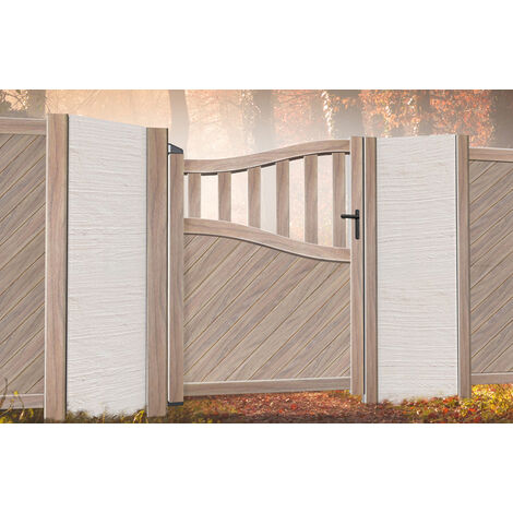 Pedestrian Gate 900x1600mm Wood - Diagonal Solid Infill and Bell-Curved Top