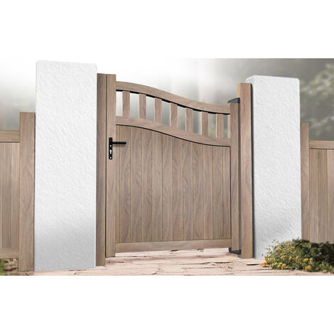 Pedestrian Gate 900x1600mm Wood - Partial Privacy with Vertical Solid Infill and Bell-Curved Top