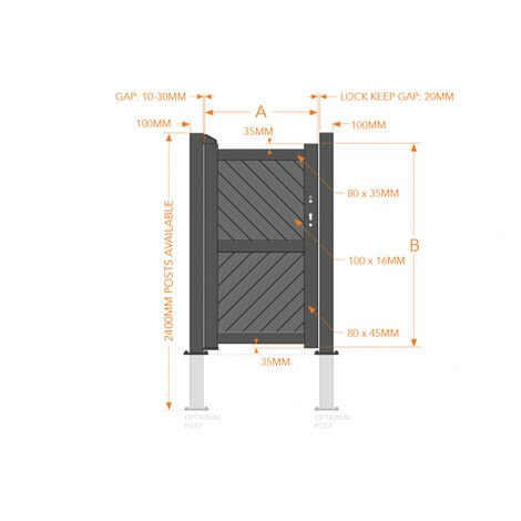 Pedestrian Gate 900x1800mm Wood - Diagonal Solid Infill and Flat Top