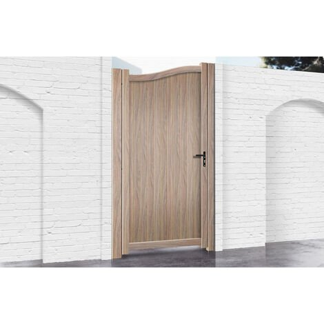 Pedestrian Gate 900x1800mm Wood - Vertical Solid Infill and Bell-Curved Top