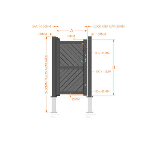 Pedestrian Gate 900x2000mm Wood - Diagonal Solid Infill and Flat Top