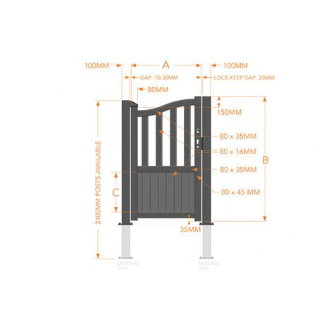 Pedestrian Gate 900x2000mm Wood - Vertical Solid Infill and Bell-Curved Top with Partial Privacy