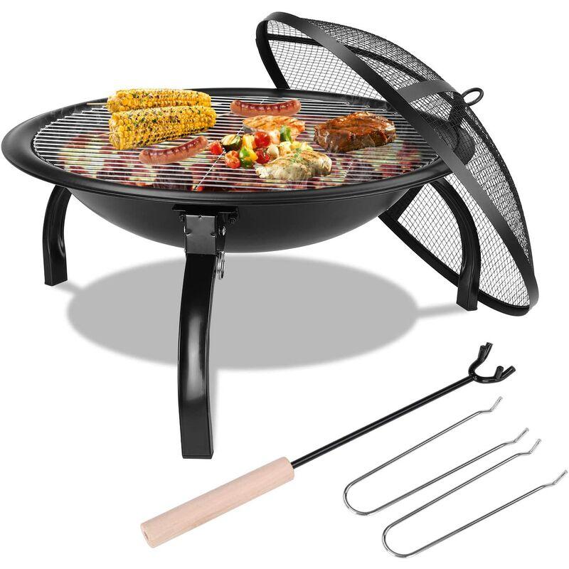 PEDY Barbecue Grill Ext¨¦rieur,Barbecue Charbon Pliant et Portable avec Couvercle,en Acier Inoxydable pour Barbecue de Jardin, ext¨¦rieur Camping et