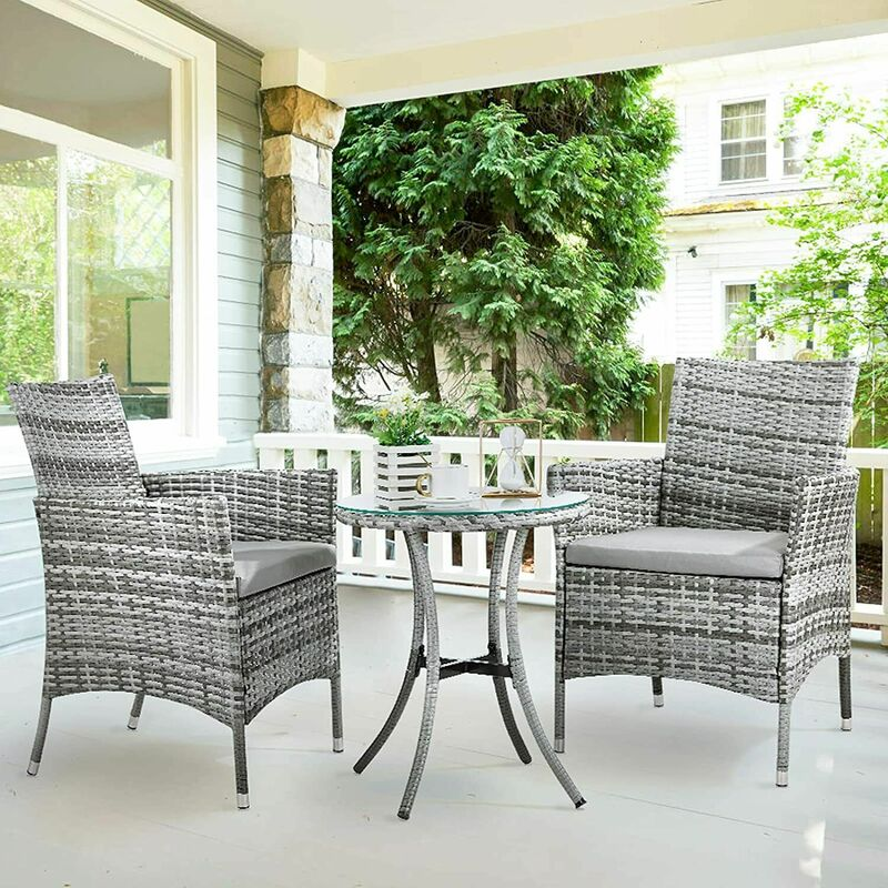 Jardin extérieur 3 pièces meubles en rotin ensemble 2 fauteuils avec coussin 1 table basse - Pedy