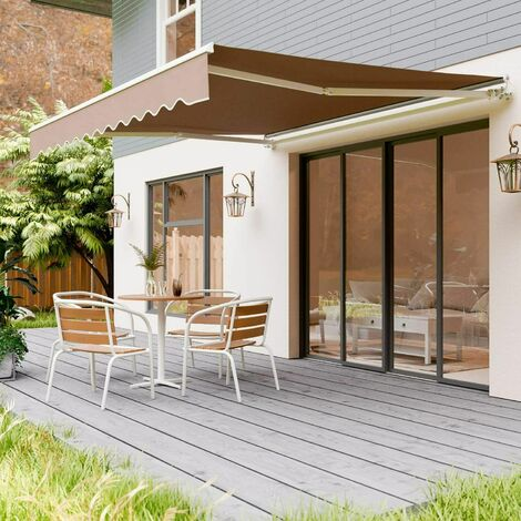 PEDY Store banne , auvent rétractable protection solaire anti-UV et étanche avec manivelle, manivelle, pour cour, balcon, restaurant, café, en métal et polyester, 300 x 250cm (Beige)