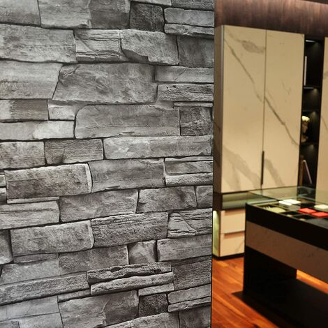 "main image of ""Peel and Stick Wallpaper 18""x240"" Self Adhesive Gray Brick Vinyl Film Contact Paper Rustic 3D Stone Stick On Waterproof Wallpapers room Bedroom Backsplash Countertop Wainscoting Panels"""