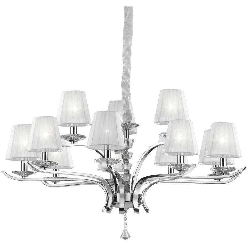 PEGASO weiße Pendelleuchte 12 Glühbirnen