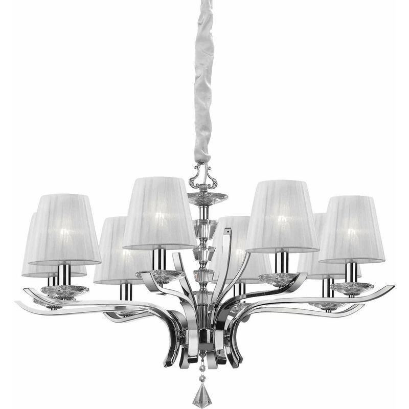 01-ideal Lux - PEGASO weiße Pendelleuchte 8 Glühbirnen